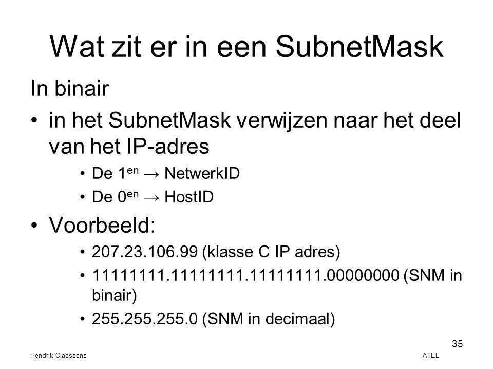 Hendrik Claessens ATEL 35 Wat zit er in een SubnetMask In binair •in het SubnetMask verwijzen naar het deel van het IP-adres •De 1 en → NetwerkID •De