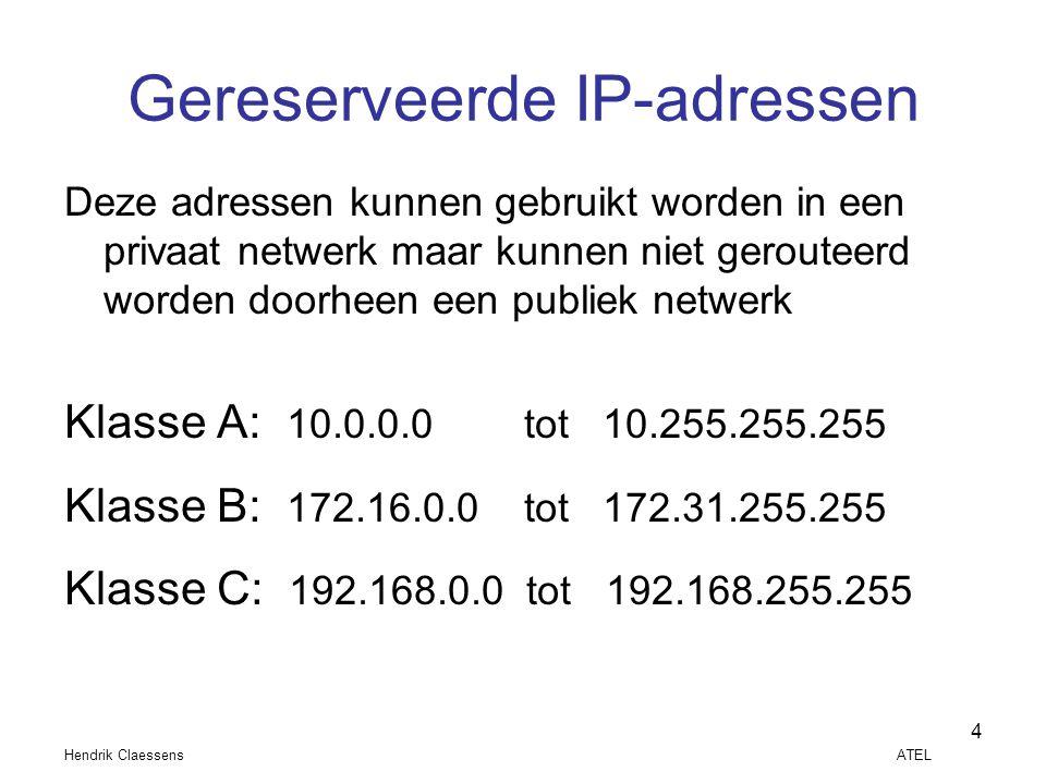 Hendrik Claessens ATEL 4 Gereserveerde IP-adressen Deze adressen kunnen gebruikt worden in een privaat netwerk maar kunnen niet gerouteerd worden door