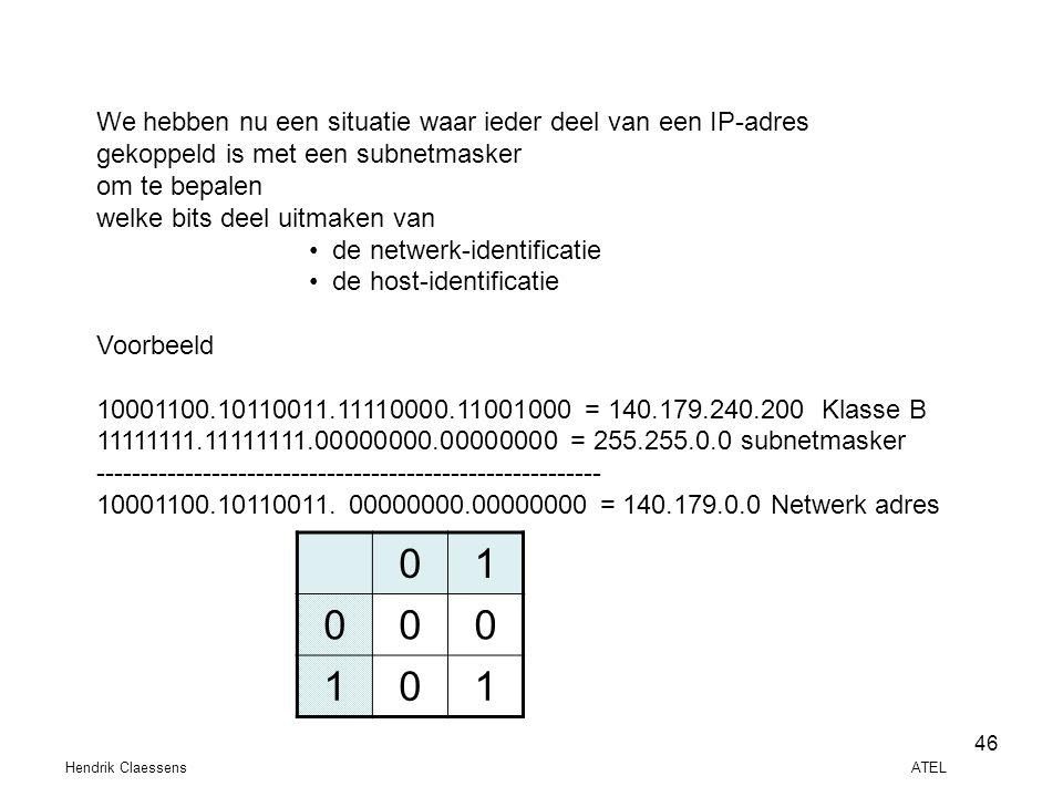 Hendrik Claessens ATEL 46 We hebben nu een situatie waar ieder deel van een IP-adres gekoppeld is met een subnetmasker om te bepalen welke bits deel u