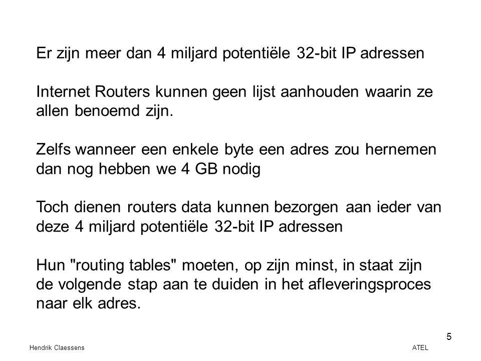 Hendrik Claessens ATEL 5 Er zijn meer dan 4 miljard potentiële 32-bit IP adressen Internet Routers kunnen geen lijst aanhouden waarin ze allen benoemd