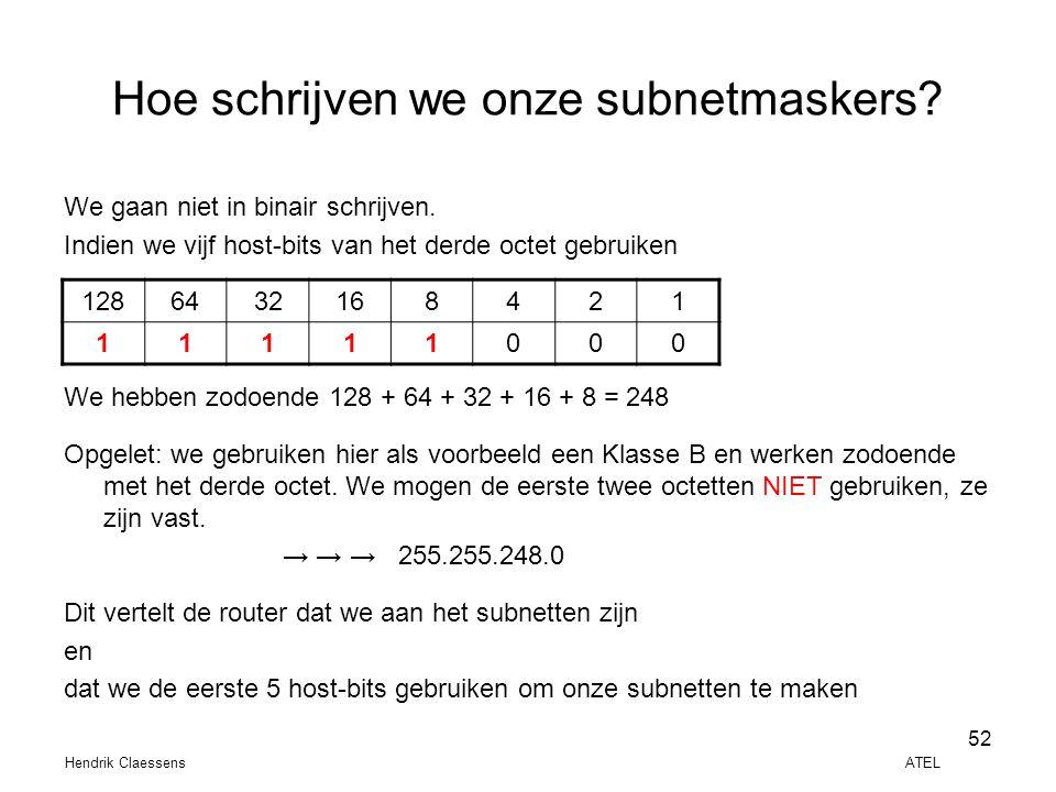 Hendrik Claessens ATEL 52 Hoe schrijven we onze subnetmaskers? We gaan niet in binair schrijven. Indien we vijf host-bits van het derde octet gebruike