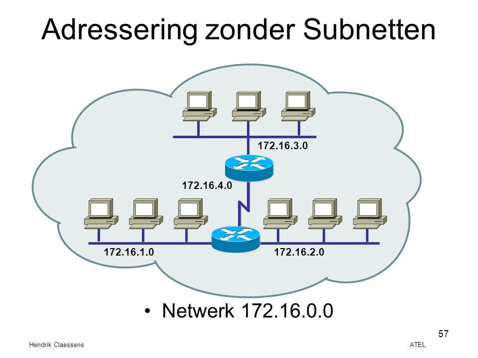 Hendrik Claessens ATEL 57 •Netwerk 172.16.0.0 Adressering zonder Subnetten 172.16.1.0172.16.2.0 172.16.3.0 172.16.4.0