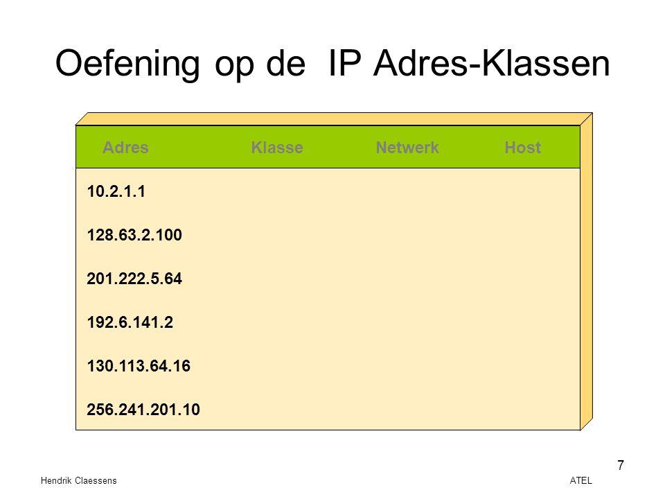 Hendrik Claessens ATEL 7 Oefening op de IP Adres-Klassen AdresKlasseNetwerkHost 10.2.1.1 128.63.2.100 201.222.5.64 192.6.141.2 130.113.64.16 256.241.2