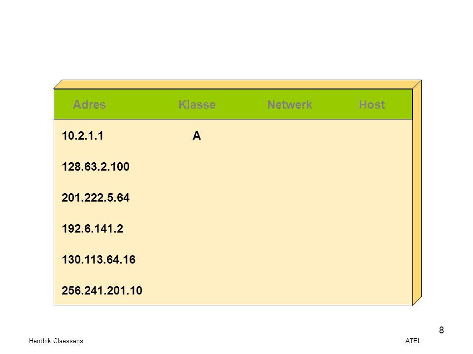 Hendrik Claessens ATEL 8 AdresKlasseNetwerkHost 10.2.1.1 128.63.2.100 201.222.5.64 192.6.141.2 130.113.64.16 256.241.201.10 A