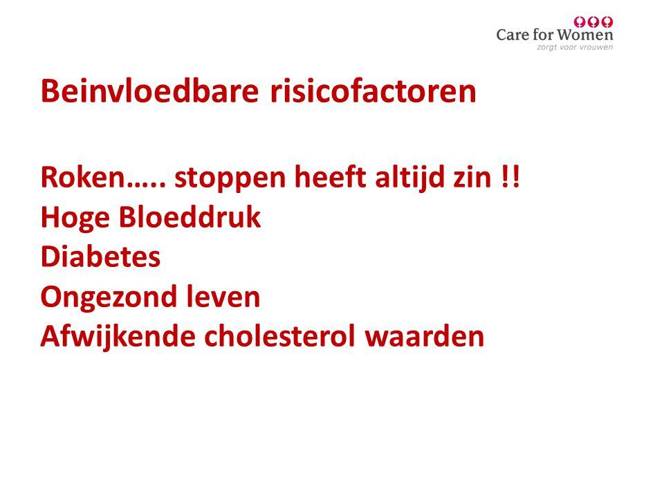 Beinvloedbare risicofactoren Roken….. stoppen heeft altijd zin !! Hoge Bloeddruk Diabetes Ongezond leven Afwijkende cholesterol waarden