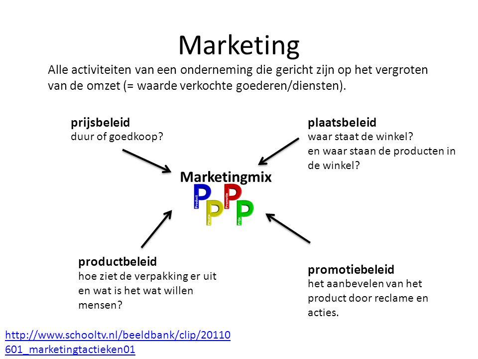 Marketing prijsbeleid productbeleid plaatsbeleid promotiebeleid http://www.schooltv.nl/beeldbank/clip/20110 601_marketingtactieken01 duur of goedkoop?
