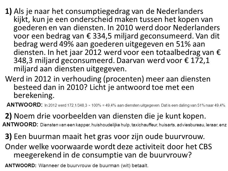 1) Als je naar het consumptiegedrag van de Nederlanders kijkt, kun je een onderscheid maken tussen het kopen van goederen en van diensten. In 2010 wer