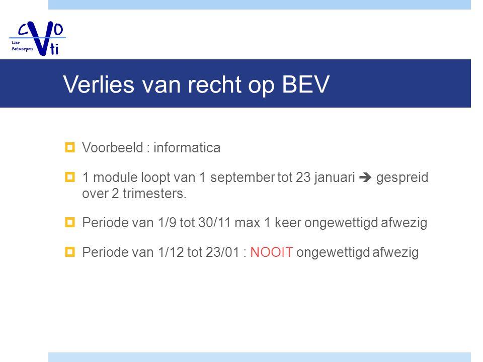Verlies van recht op BEV  Voorbeeld : informatica  1 module loopt van 1 september tot 23 januari  gespreid over 2 trimesters.  Periode van 1/9 tot