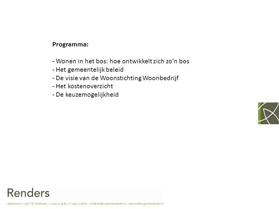 Programma: - Wonen in het bos: hoe ontwikkelt zich zo'n bos - Het gemeentelijk beleid - De visie van de Woonstichting Woonbedrijf - Het kostenoverzich