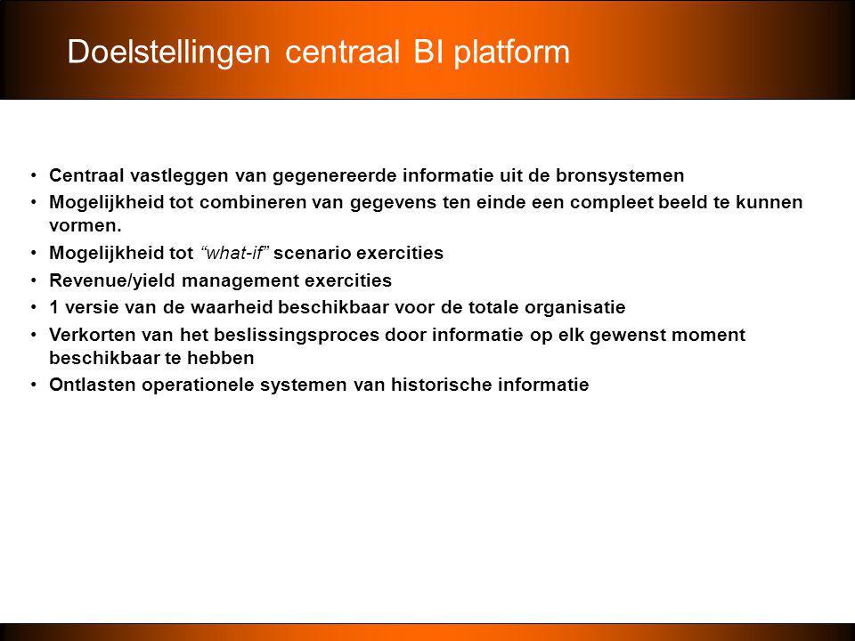 Doelstellingen centraal BI platform •Centraal vastleggen van gegenereerde informatie uit de bronsystemen •Mogelijkheid tot combineren van gegevens ten