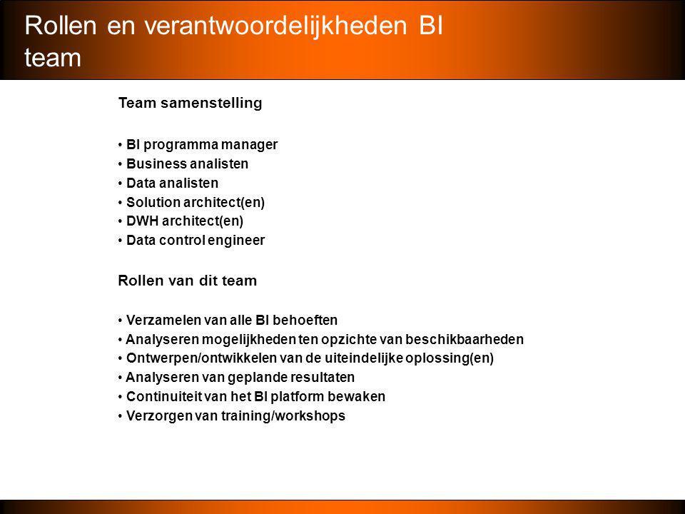 Rollen en verantwoordelijkheden BI team Team samenstelling • BI programma manager • Business analisten • Data analisten • Solution architect(en) • DWH