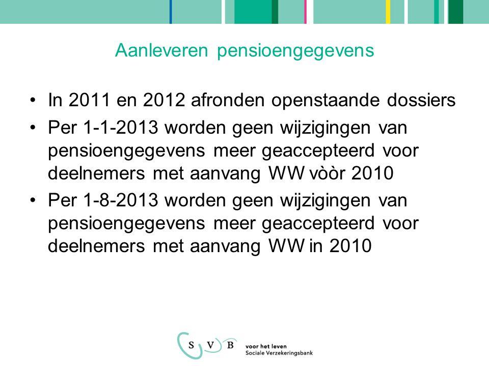 Aanleveren pensioengegevens •In 2011 en 2012 afronden openstaande dossiers •Per 1-1-2013 worden geen wijzigingen van pensioengegevens meer geaccepteerd voor deelnemers met aanvang WW vòòr 2010 •Per 1-8-2013 worden geen wijzigingen van pensioengegevens meer geaccepteerd voor deelnemers met aanvang WW in 2010