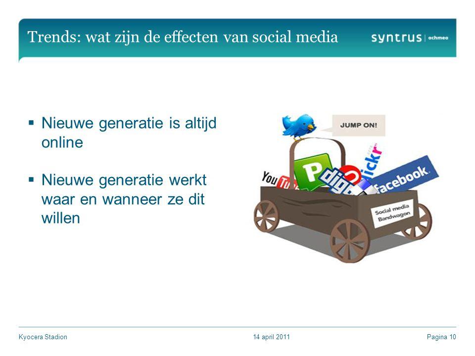 Trends: wat zijn de effecten van social media  Nieuwe generatie is altijd online  Nieuwe generatie werkt waar en wanneer ze dit willen 14 april 2011Kyocera StadionPagina 10