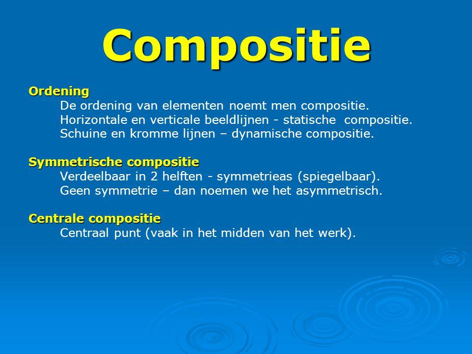 Compositie Ordening De ordening van elementen noemt men compositie. Horizontale en verticale beeldlijnen - statische compositie. Schuine en kromme lij