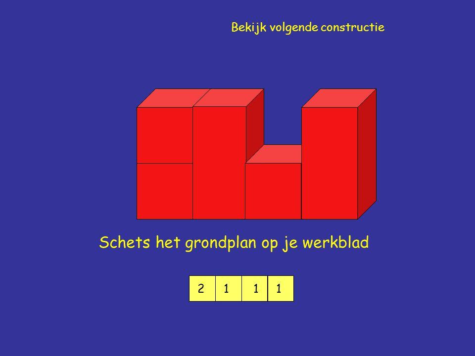 Schets het grondplan op je werkblad 2111 Bekijk volgende constructie