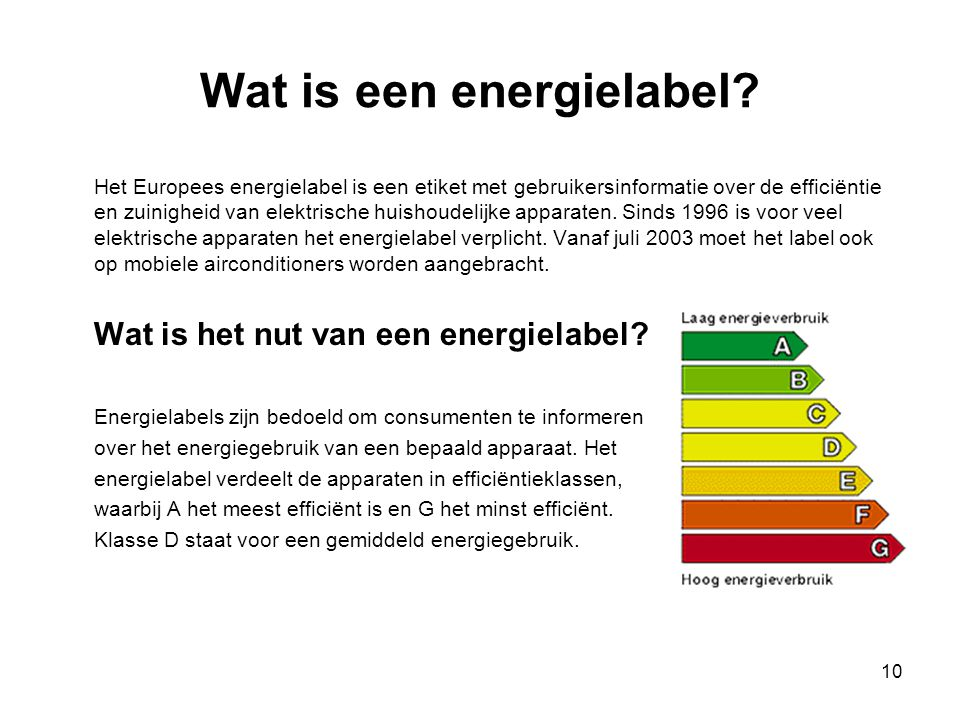 10 Wat is een energielabel? Het Europees energielabel is een etiket met gebruikersinformatie over de efficiëntie en zuinigheid van elektrische huishou