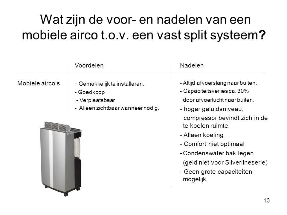 13 Wat zijn de voor- en nadelen van een mobiele airco t.o.v. een vast split systeem? Mobiele airco's Voordelen - Gemakkelijk te installeren. - Goedkoo