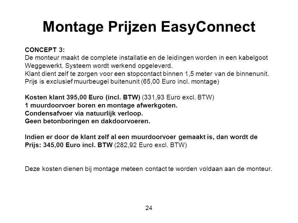 24 Montage Prijzen EasyConnect CONCEPT 3: De monteur maakt de complete installatie en de leidingen worden in een kabelgoot Weggewerkt. Systeem wordt w