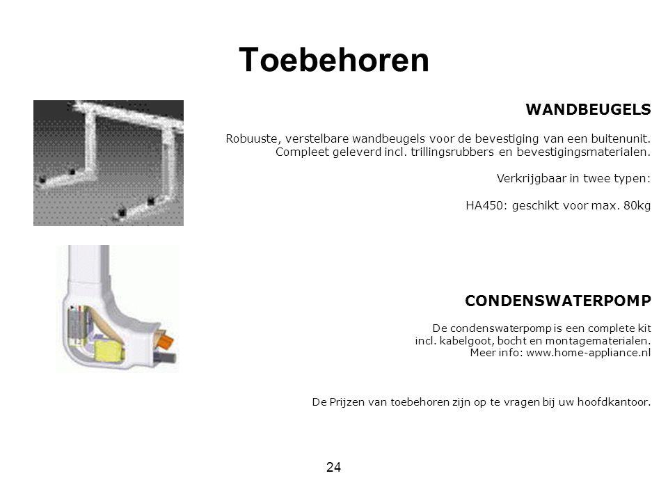 24 Toebehoren WANDBEUGELS Robuuste, verstelbare wandbeugels voor de bevestiging van een buitenunit. Compleet geleverd incl. trillingsrubbers en bevest