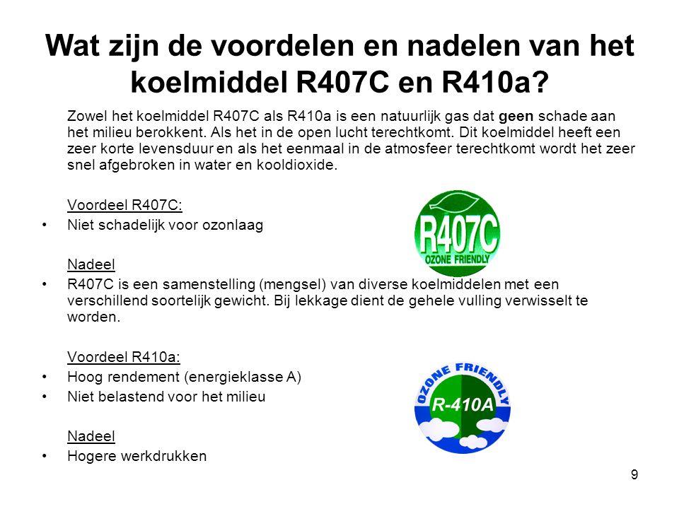 9 Wat zijn de voordelen en nadelen van het koelmiddel R407C en R410a? Zowel het koelmiddel R407C als R410a is een natuurlijk gas dat geen schade aan h