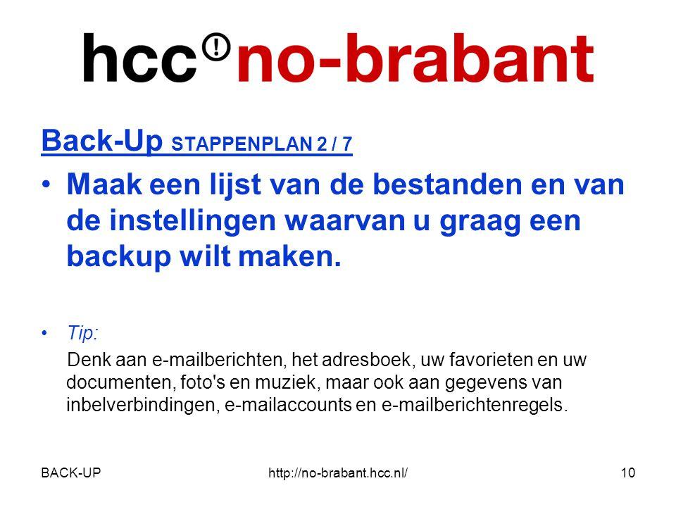 BACK-UPhttp://no-brabant.hcc.nl/10 Back-Up STAPPENPLAN 2 / 7 •Maak een lijst van de bestanden en van de instellingen waarvan u graag een backup wilt maken.