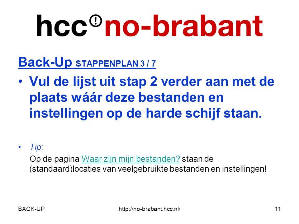 BACK-UPhttp://no-brabant.hcc.nl/11 Back-Up STAPPENPLAN 3 / 7 •Vul de lijst uit stap 2 verder aan met de plaats wáár deze bestanden en instellingen op de harde schijf staan.