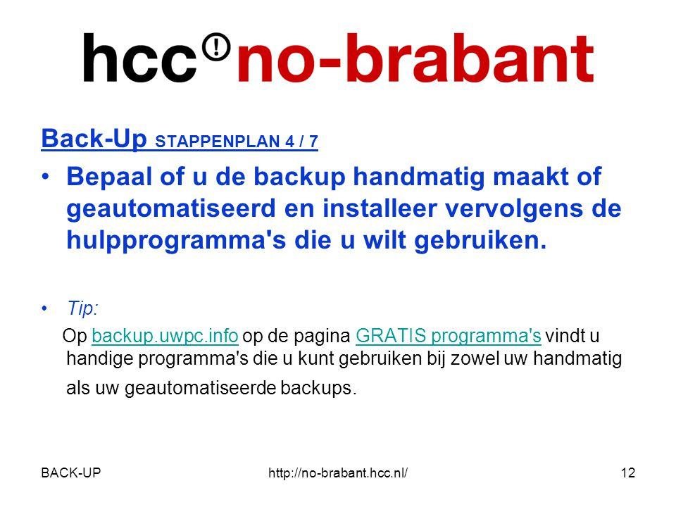 BACK-UPhttp://no-brabant.hcc.nl/12 Back-Up STAPPENPLAN 4 / 7 •Bepaal of u de backup handmatig maakt of geautomatiseerd en installeer vervolgens de hulpprogramma s die u wilt gebruiken.