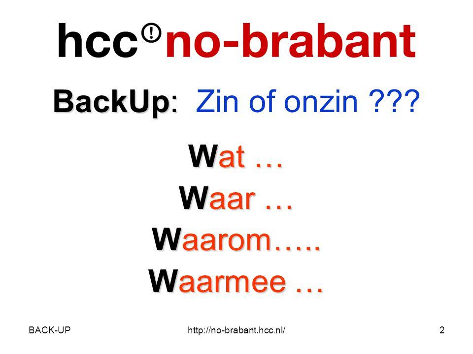 BACK-UPhttp://no-brabant.hcc.nl/2 BackUp: BackUp: Zin of onzin Wat … Waar … Waarom….. Waarmee …