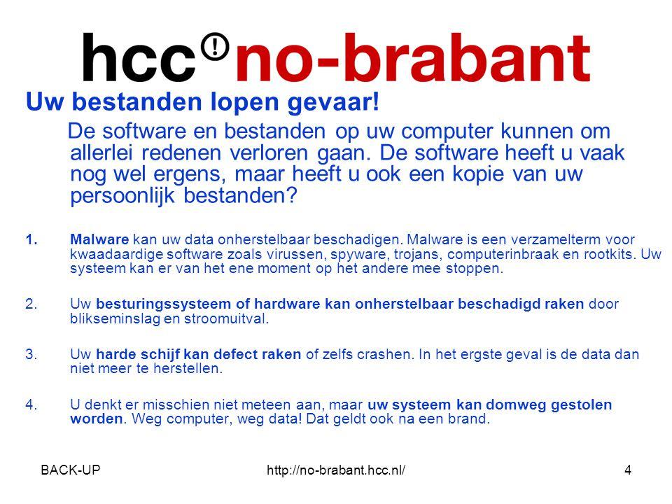 BACK-UPhttp://no-brabant.hcc.nl/5 Uitgangspunten Back-Up •Gebruik bij voorkeur een gratis backupprogramma dat automatisch op gezette tijden backups voor u maakt.
