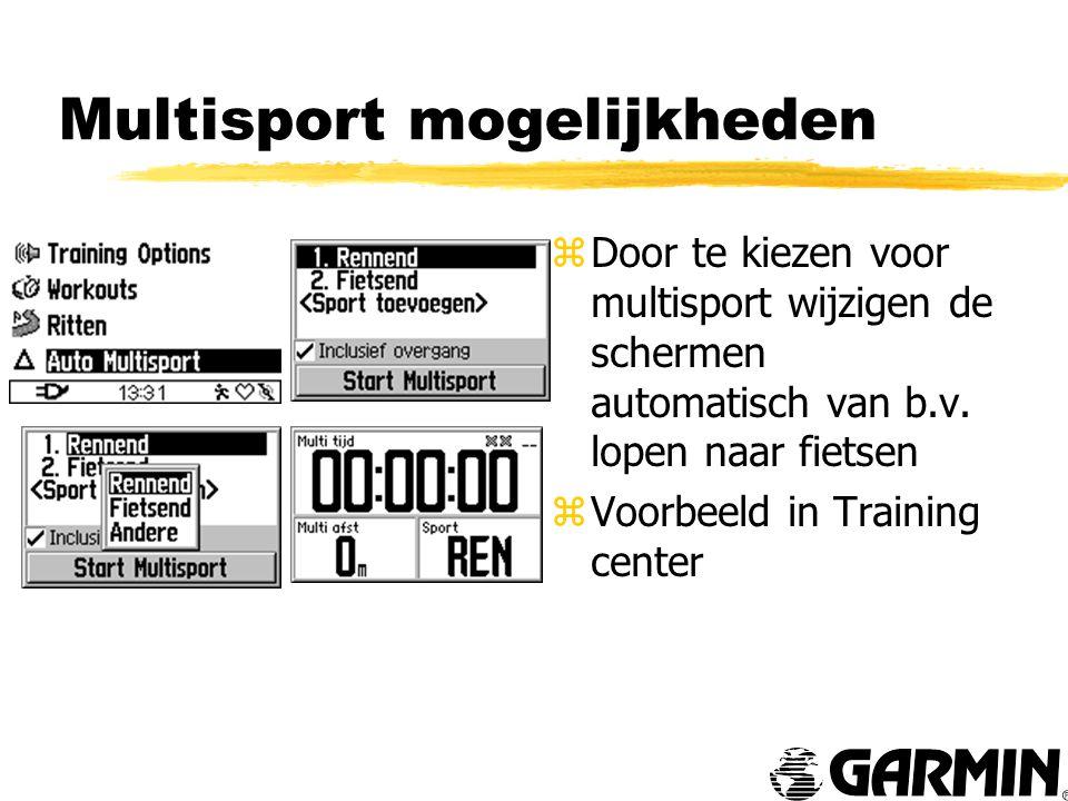Multisport mogelijkheden z Door te kiezen voor multisport wijzigen de schermen automatisch van b.v.