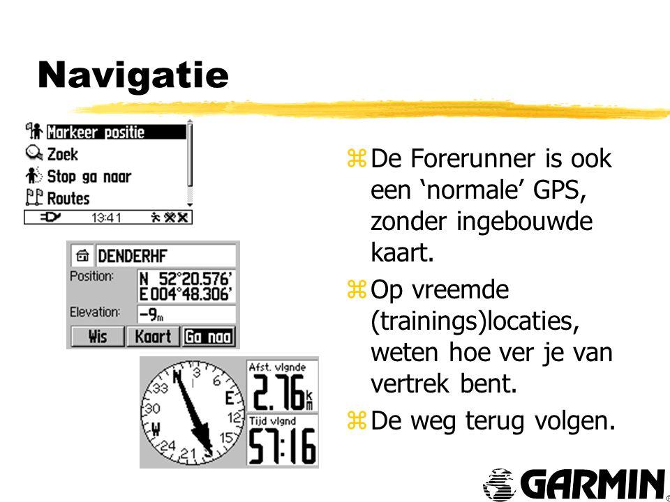 Navigatie z De Forerunner is ook een 'normale' GPS, zonder ingebouwde kaart.