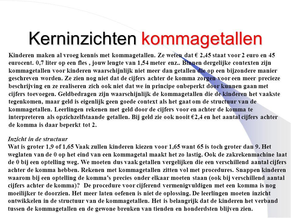Kerninzichten kommagetallen Kinderen maken al vroeg kennis met kommagetallen. Ze weten dat € 2,45 staat voor 2 euro en 45 eurocent. 0,7 liter op een f
