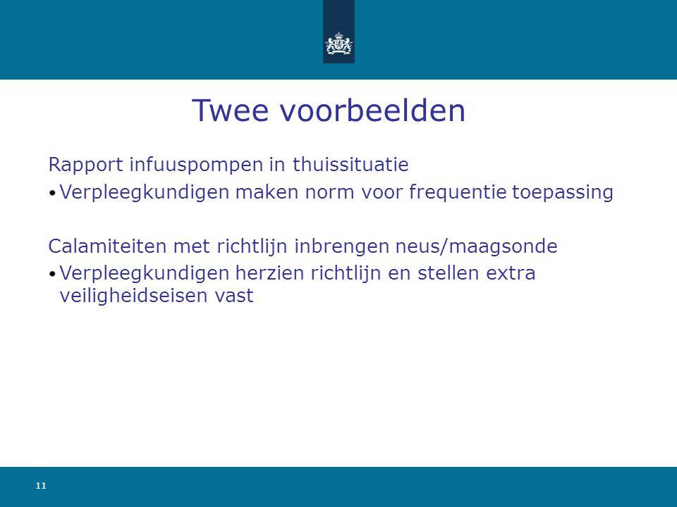 11 Twee voorbeelden Rapport infuuspompen in thuissituatie Verpleegkundigen maken norm voor frequentie toepassing Calamiteiten met richtlijn inbrengen
