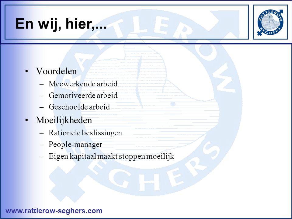 www.rattlerow-seghers.com En wij, hier,... •Voordelen –Meewerkende arbeid –Gemotiveerde arbeid –Geschoolde arbeid •Moeilijkheden –Rationele beslissing