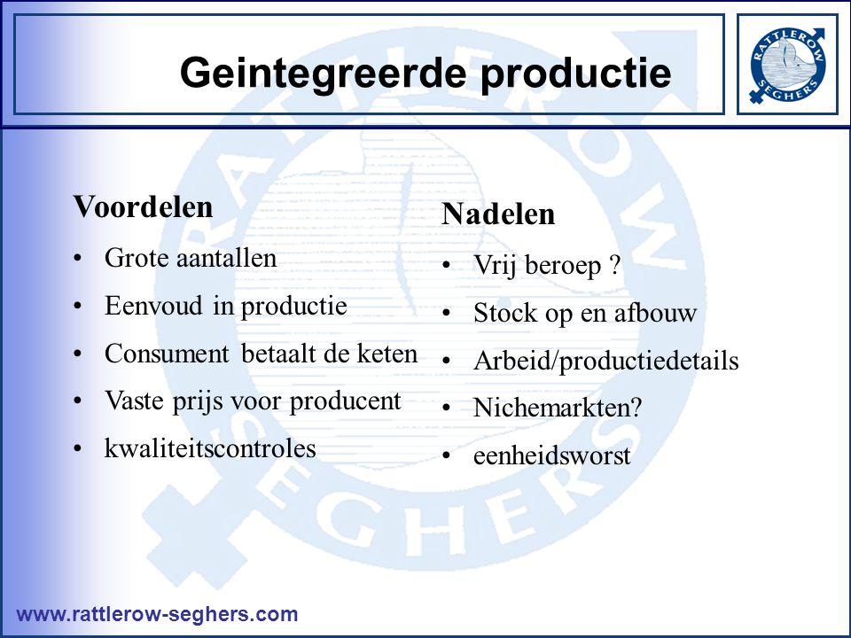 www.rattlerow-seghers.com Geintegreerde productie Voordelen •Grote aantallen •Eenvoud in productie •Consument betaalt de keten •Vaste prijs voor producent •kwaliteitscontroles Nadelen •Vrij beroep .