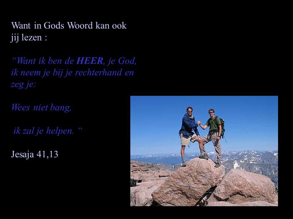 Want in Gods Woord kan ook jij lezen : Want ik ben de HEER, je God, ik neem je bij je rechterhand en zeg je: Wees niet bang, ik zal je helpen.