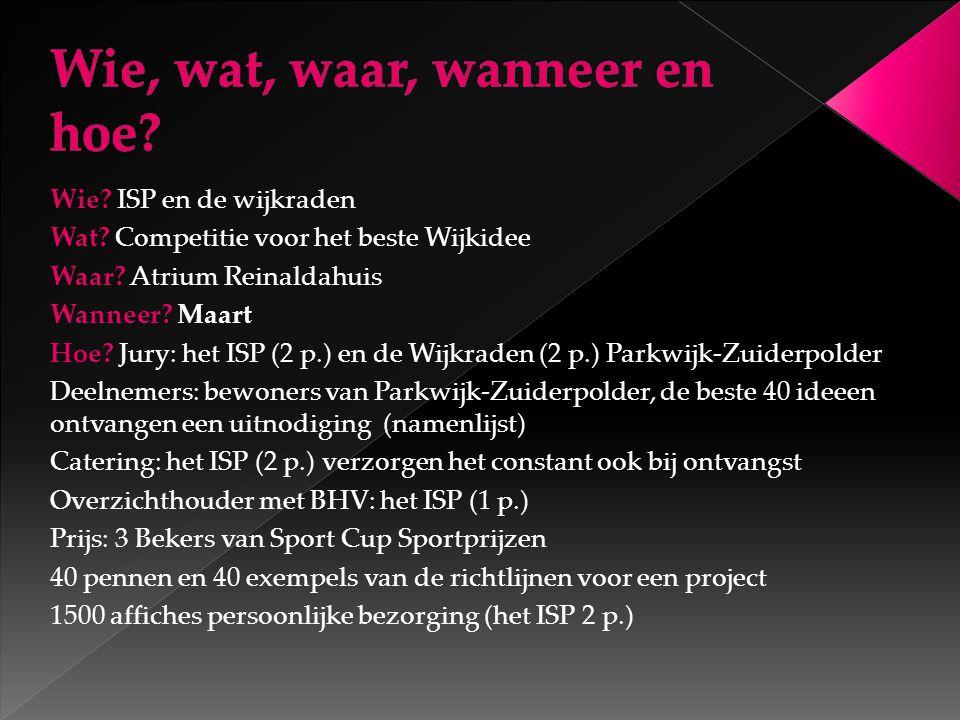 Wie.ISP en de wijkraden Wat. Competitie voor het beste Wijkidee Waar.