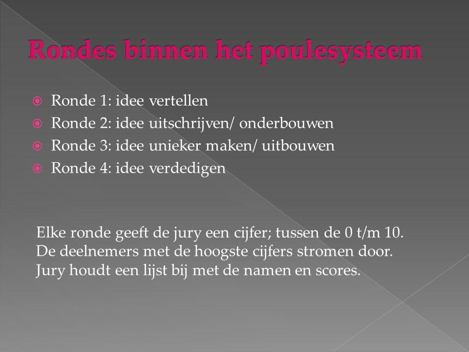  Ronde 1: idee vertellen  Ronde 2: idee uitschrijven/ onderbouwen  Ronde 3: idee unieker maken/ uitbouwen  Ronde 4: idee verdedigen Elke ronde geeft de jury een cijfer; tussen de 0 t/m 10.