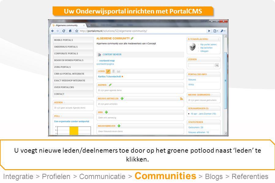 Uw Onderwijsportal inrichten met PortalCMS U voegt nieuwe leden/deelnemers toe door op het groene potlood naast 'leden' te klikken.