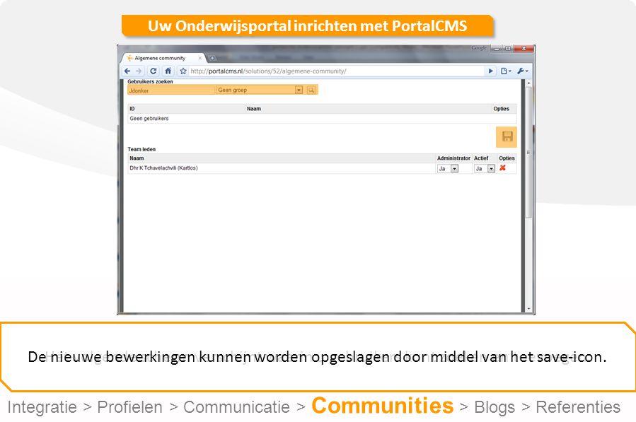 Uw Onderwijsportal inrichten met PortalCMS Het volgende scherm verschijnt waarin u gebruikers kunt zoeken en toevoegen.