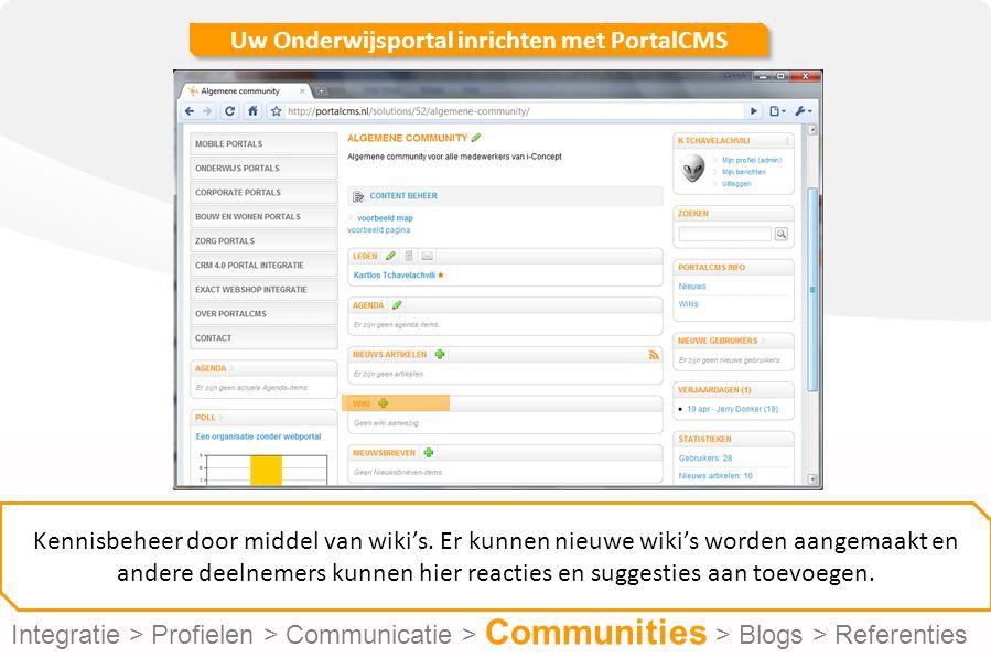 Uw Onderwijsportal inrichten met PortalCMS Kennisbeheer door middel van wiki's.