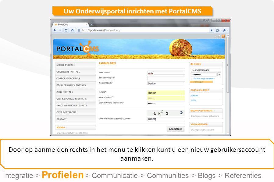 Uw Onderwijsportal inrichten met PortalCMS Onder de kop 'uitgebreide tekst' kunt u volledig opgemaakte tekst plaatsen.