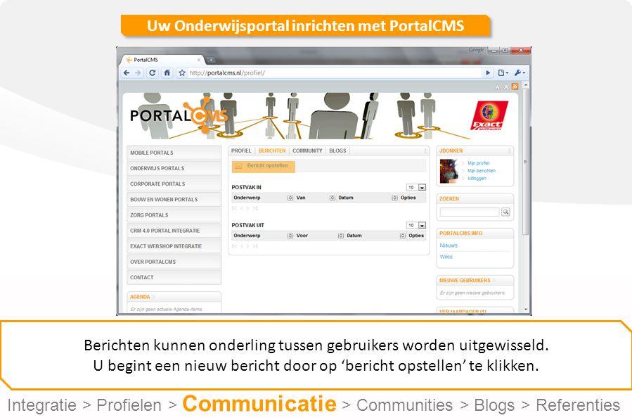 Uw Onderwijsportal inrichten met PortalCMS Berichten kunnen onderling tussen gebruikers worden uitgewisseld.