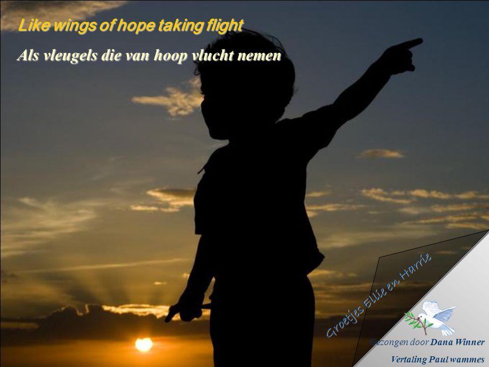 A beam that close within every soul Een straal dat binnen elke ziel sluit Een straal dat binnen elke ziel sluit Like wings of hope taking flight Als v