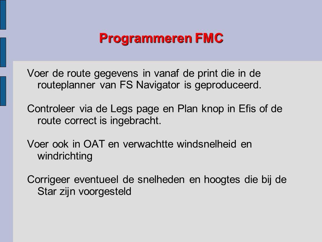 Programmeren FMC Voer de route gegevens in vanaf de print die in de routeplanner van FS Navigator is geproduceerd.