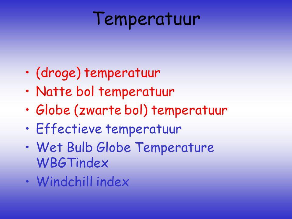 Temperatuur •(droge) temperatuur •Natte bol temperatuur •Globe (zwarte bol) temperatuur •Effectieve temperatuur •Wet Bulb Globe Temperature WBGTindex •Windchill index