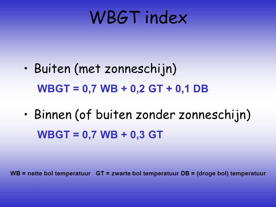 WBGT index •Buiten (met zonneschijn) •Binnen (of buiten zonder zonneschijn) WB = natte bol temperatuur GT = zwarte bol temperatuur DB = (droge bol) temperatuur WBGT = 0,7 WB + 0,2 GT + 0,1 DB WBGT = 0,7 WB + 0,3 GT