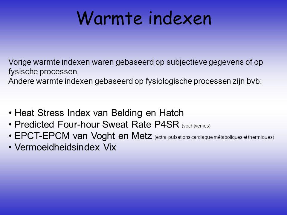 Warmte indexen Vorige warmte indexen waren gebaseerd op subjectieve gegevens of op fysische processen.