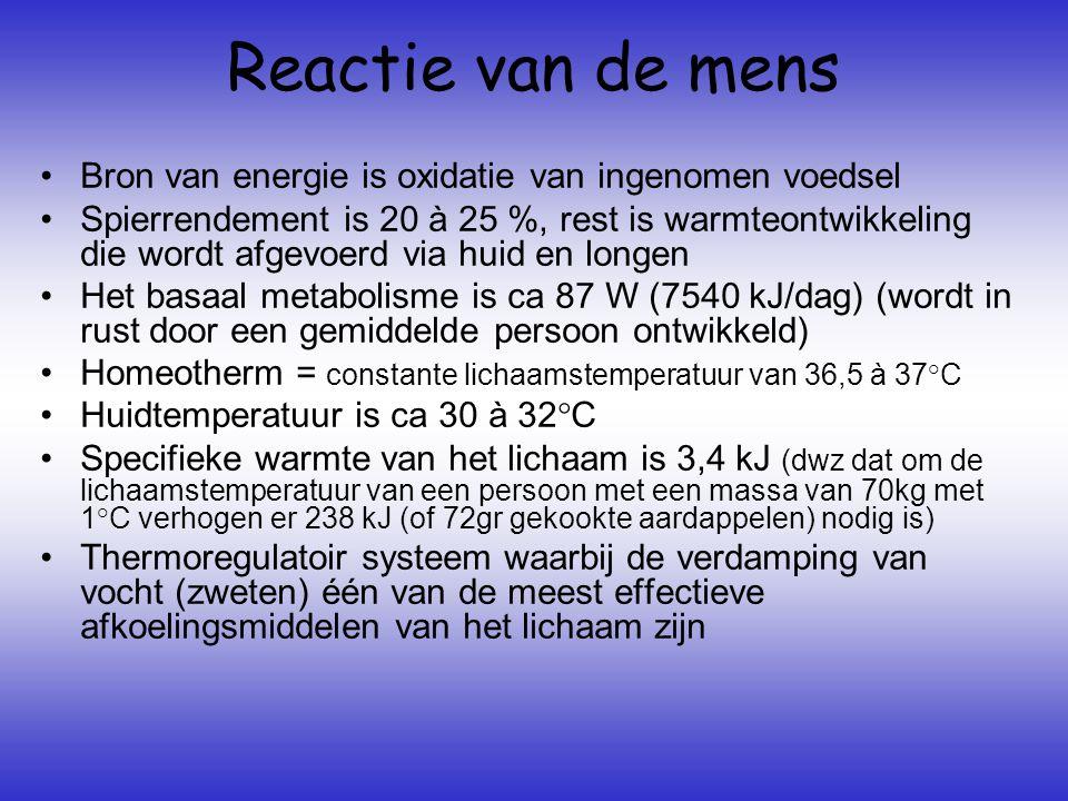 Reactie van de mens •Bron van energie is oxidatie van ingenomen voedsel •Spierrendement is 20 à 25 %, rest is warmteontwikkeling die wordt afgevoerd v