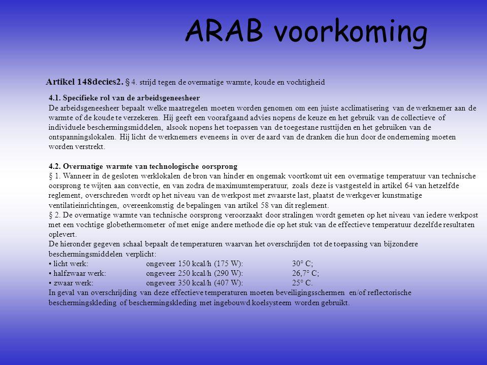 Artikel 148decies2. § 4. strijd tegen de overmatige warmte, koude en vochtigheid ARAB voorkoming 4.1. Specifieke rol van de arbeidsgeneesheer De arbei